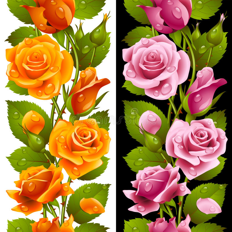 Download Vector Yellow And Pink Rose Vertical Seamless Patt Royalty Free Stock Images - Image: 33613119