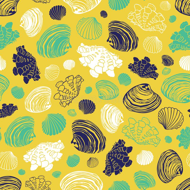 Vector yellow repeat pattern with variety of clam seashells. Perfect for greetings, invitations, wrapping paper, textile stock illustration