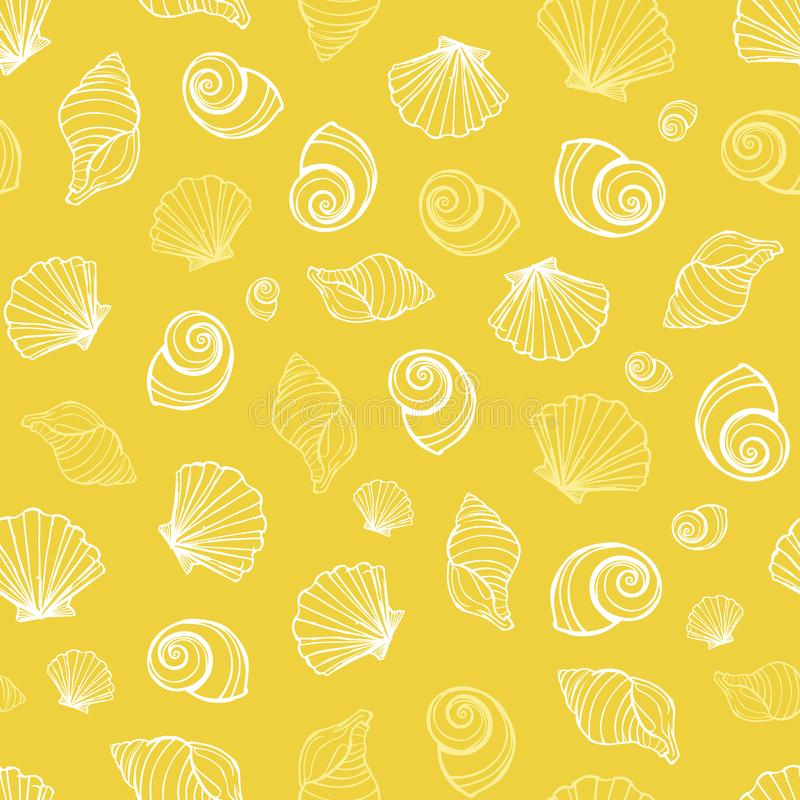 Vector yellow seashells repeat pattern. Suitable for gift wrap, textile and wallpaper royalty free illustration