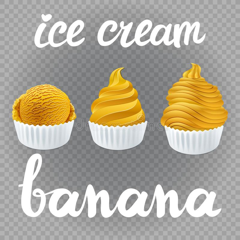 Vector yellow Set of Ice cream scoops poster design with creme Fresh Frozen banana popsicle isolated on transparent background royalty free illustration