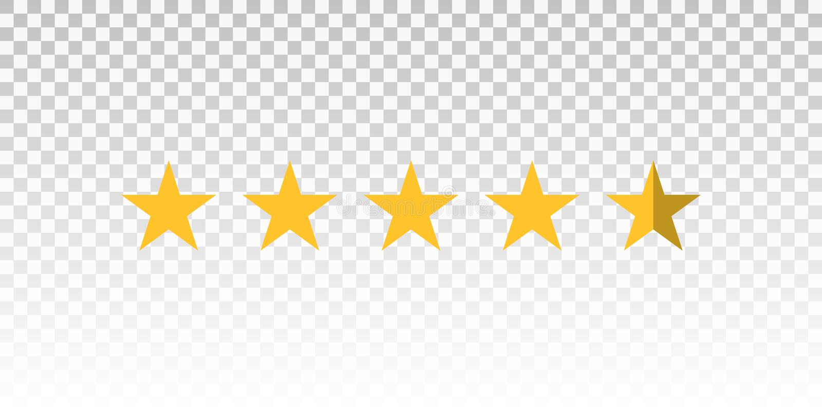 Vector Yellow Star Rating Bar Isolated On Transparent Background