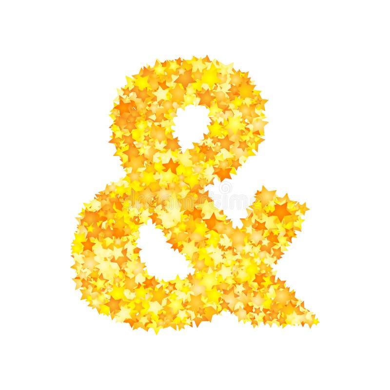 Vector yellow stars font, ampersand.  stock illustration