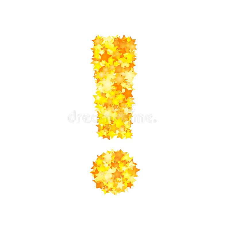 Vector yellow stars font, exclamation mark stock illustration