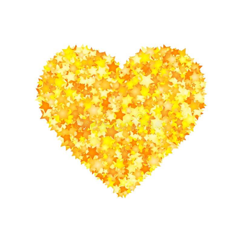 Vector yellow stars font, heart shape stock illustration