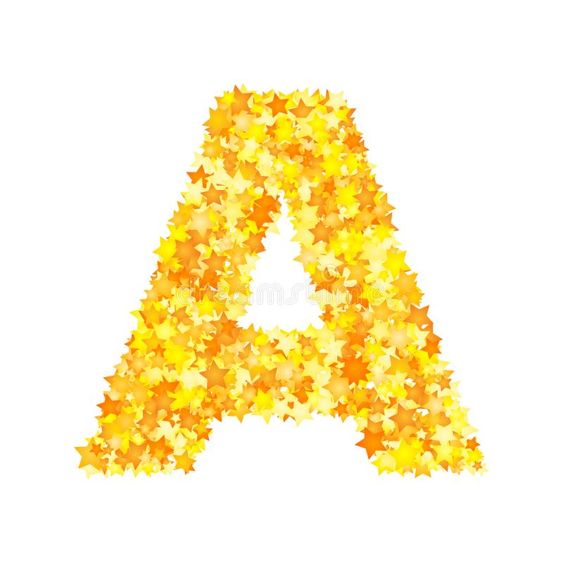 Vector yellow stars font, letter A.  vector illustration