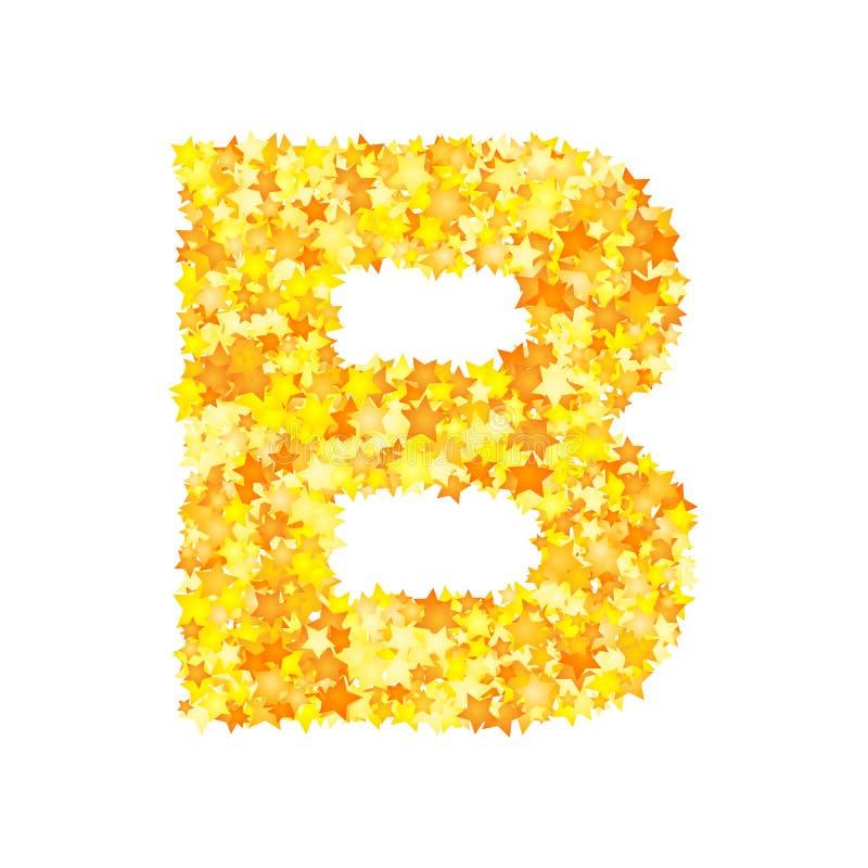 Vector yellow stars font, letter B.  stock illustration
