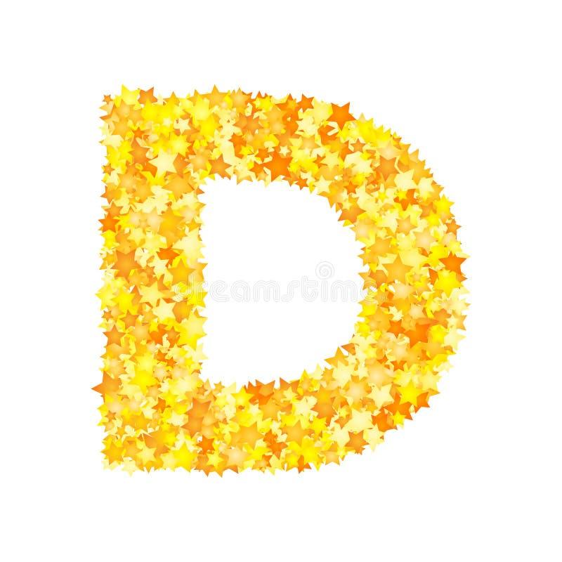 Vector yellow stars font, letter D.  stock illustration