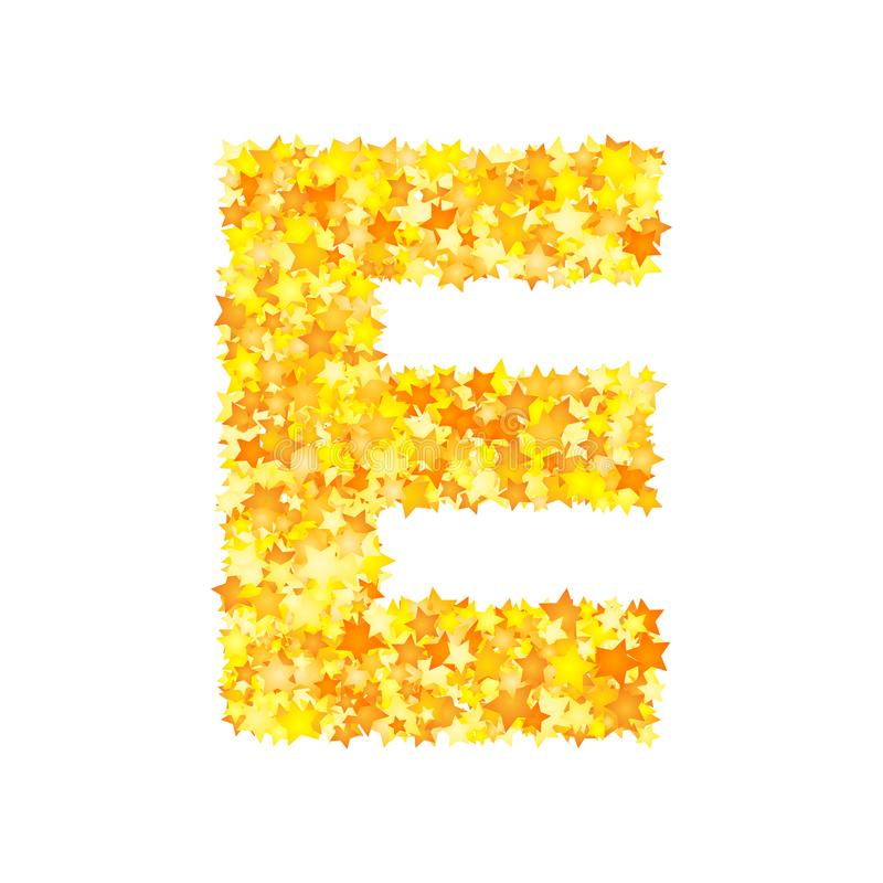 Vector yellow stars font, letter E stock illustration