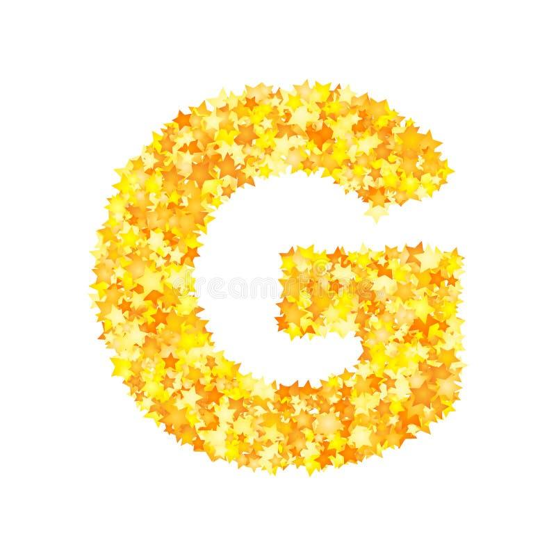 Vector yellow stars font, letter G.  vector illustration