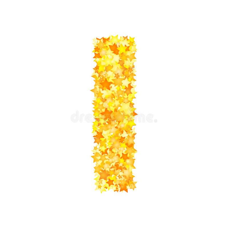 Vector yellow stars font, letter I.  royalty free illustration
