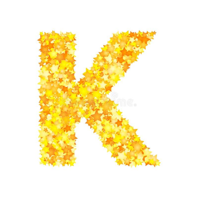 Vector yellow stars font, letter K.  royalty free illustration