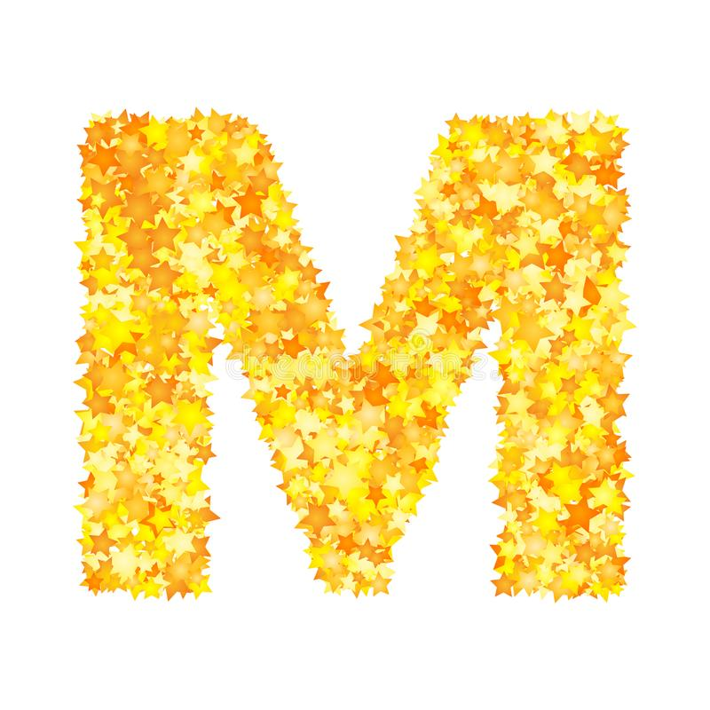 Vector yellow stars font, letter M.  stock illustration