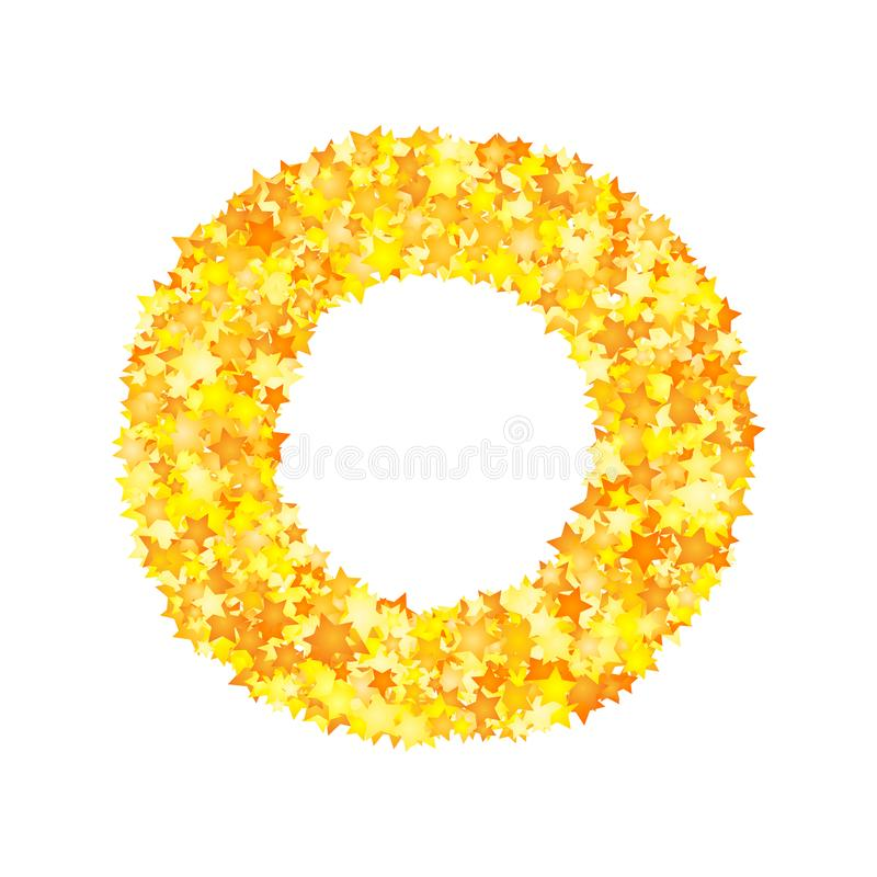 Vector yellow stars font, letter O.  stock illustration