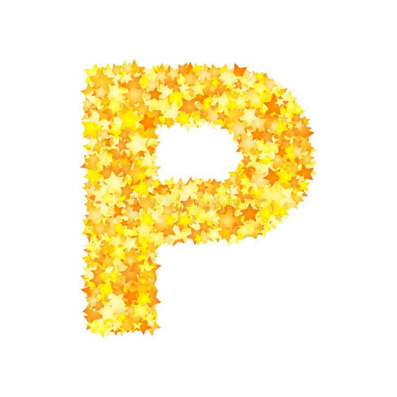 Vector yellow stars font, letter P.  vector illustration
