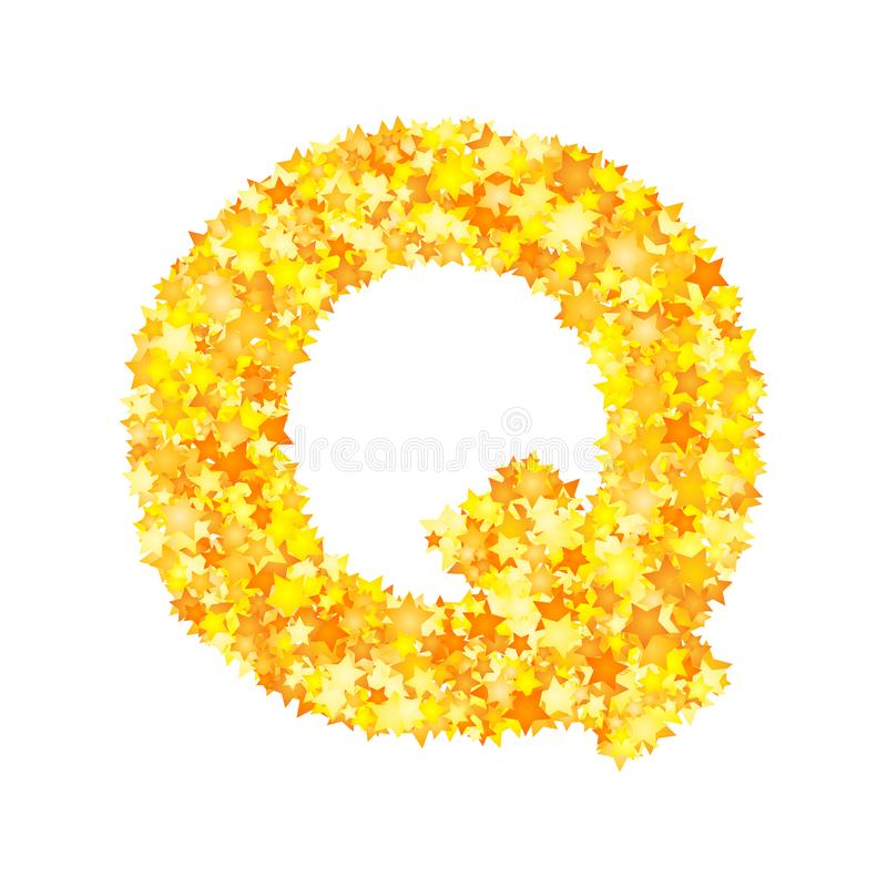 Vector yellow stars font, letter Q vector illustration