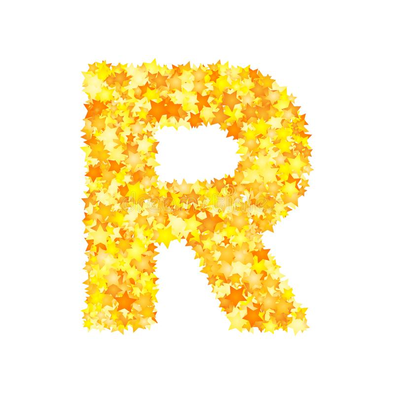 Vector yellow stars font, letter R.  royalty free illustration