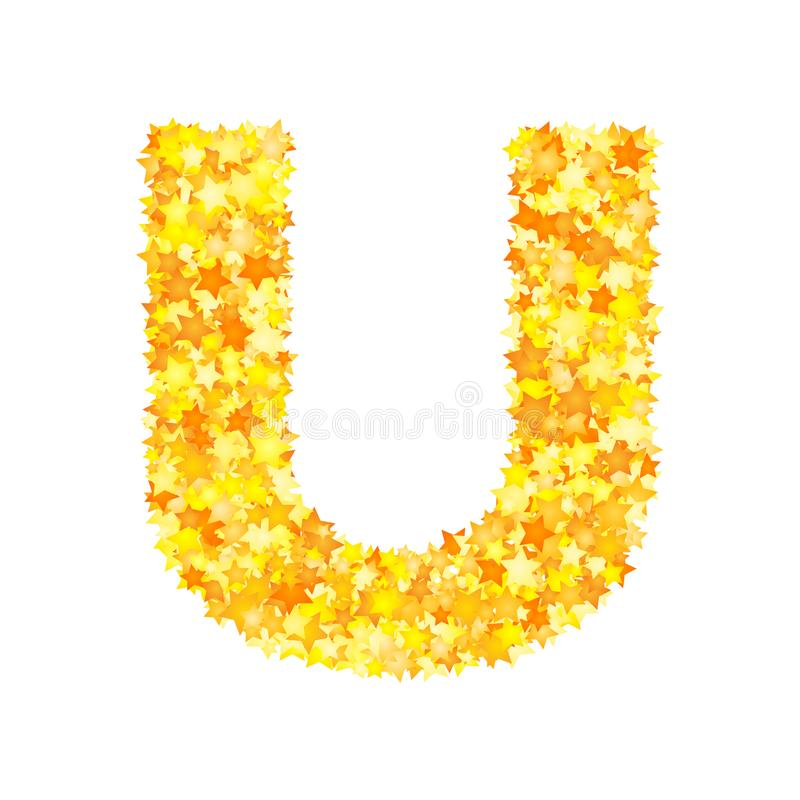 Vector yellow stars font, letter U royalty free illustration