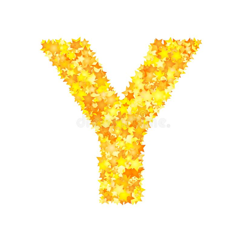 Vector yellow stars font, letter Y royalty free illustration