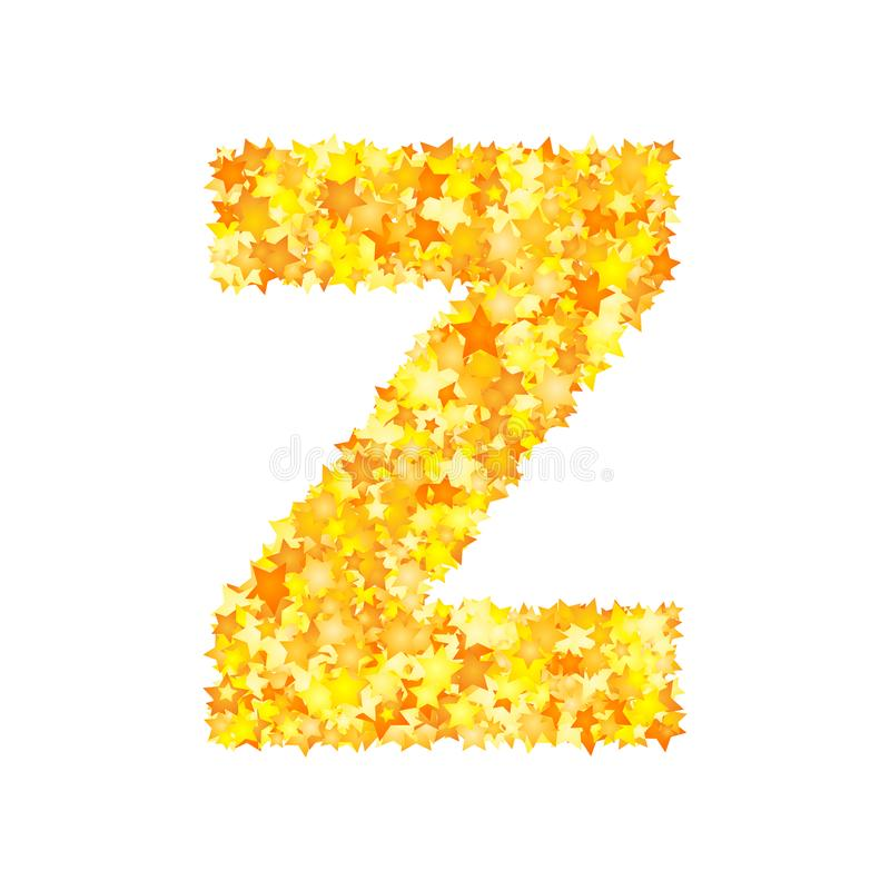 Vector yellow stars font, letter Z stock illustration
