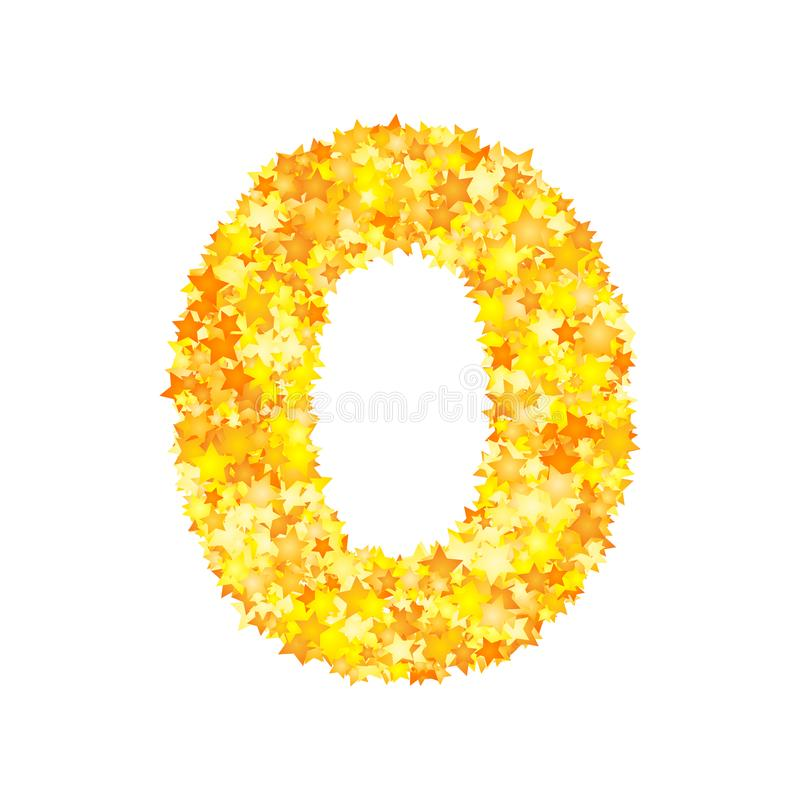 Vector yellow stars font, numeral 0 royalty free illustration