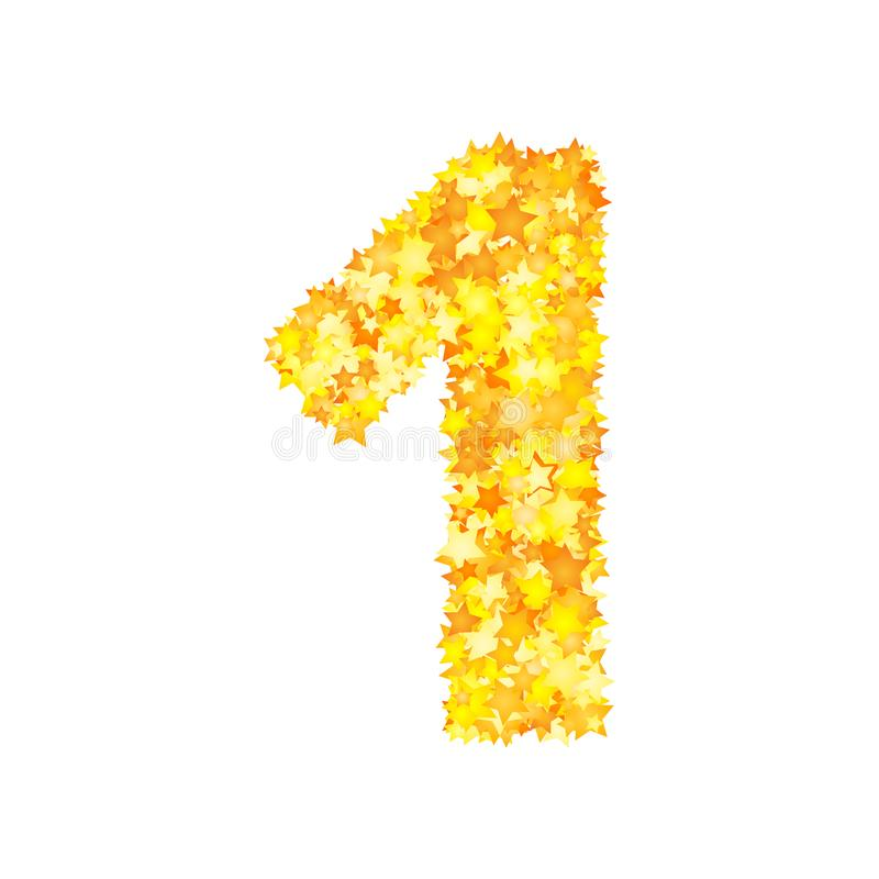 Vector yellow stars font, numeral 1.  stock illustration