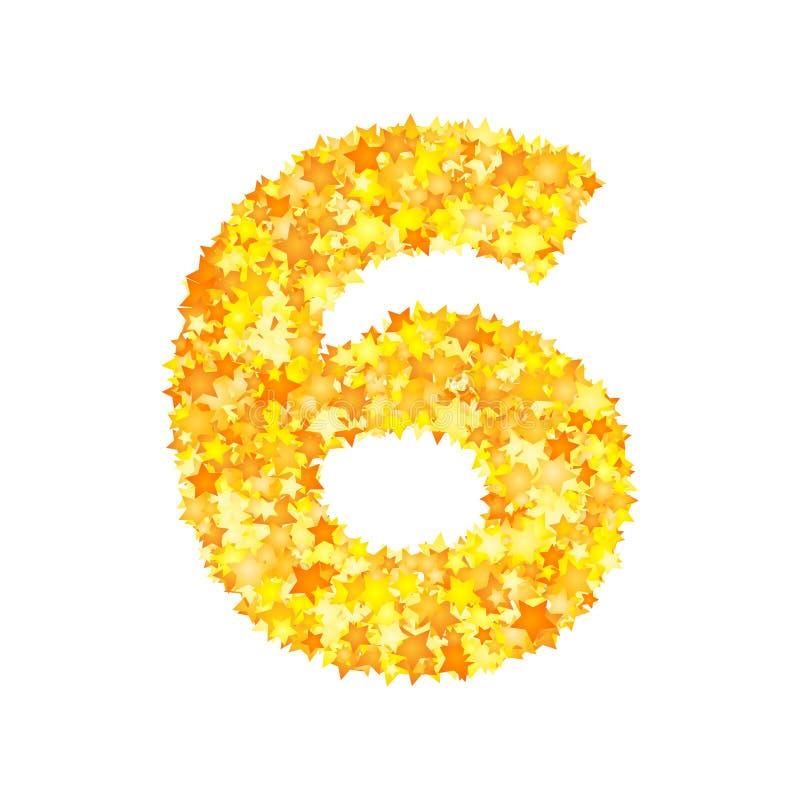 Vector yellow stars font, numeral 6.  vector illustration