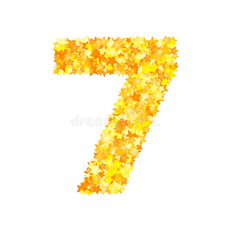 Vector yellow stars font, numeral 7.  stock illustration