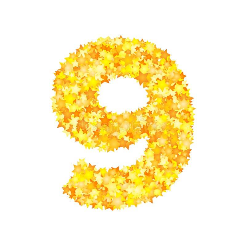 Vector yellow stars font, numeral 9.  vector illustration