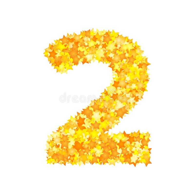 Vector yellow stars font, numeral 2.  royalty free illustration