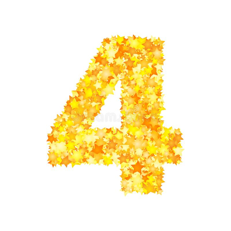 Vector yellow stars font, numeral 4.  stock illustration