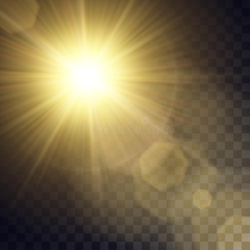Download Vector Yellow Sun With Light Effects Stock