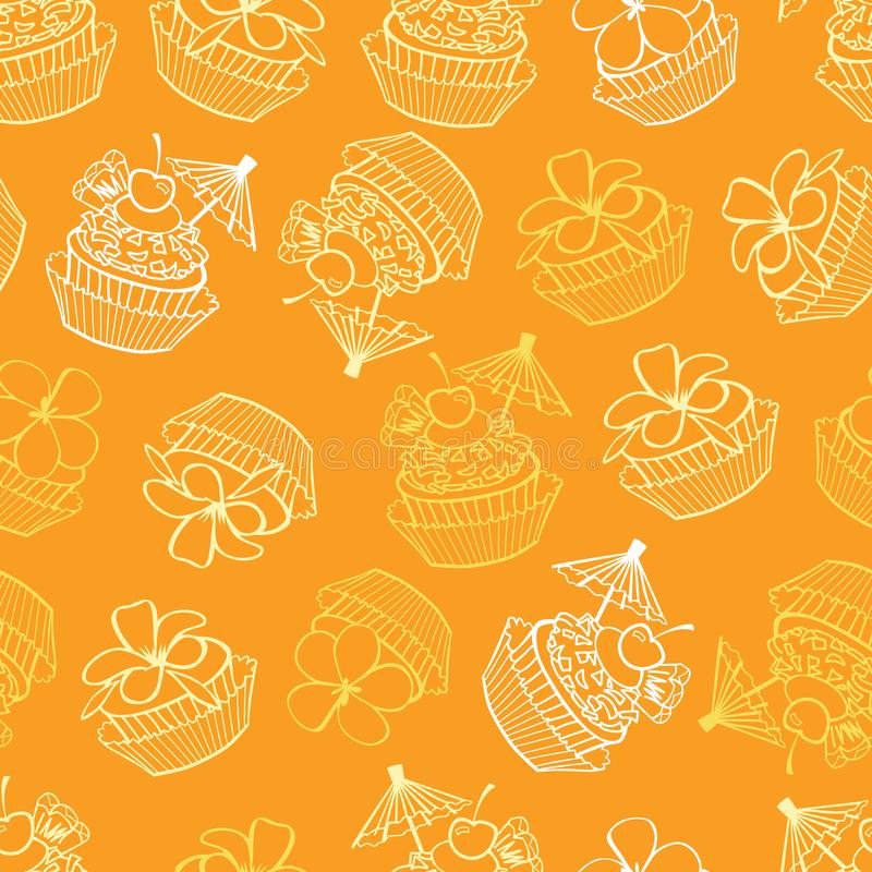 Vector yellow tropical birthday party cupcakes seamless pattern background. Perfect for fabric, scrapbooking, wallpaper projects stock illustration