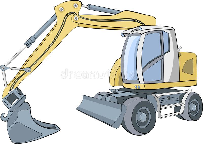 Vector. Yellow wheeled excavator with bucket and blade. Yellow excavator on wheels with equipment Isolated on a white background. Vector vector illustration