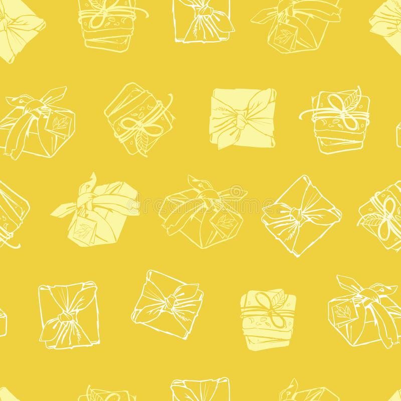 Vector yellow wrapped packages texture repeat pattern. Suitable for gift wrap, textile and wallpaper royalty free illustration