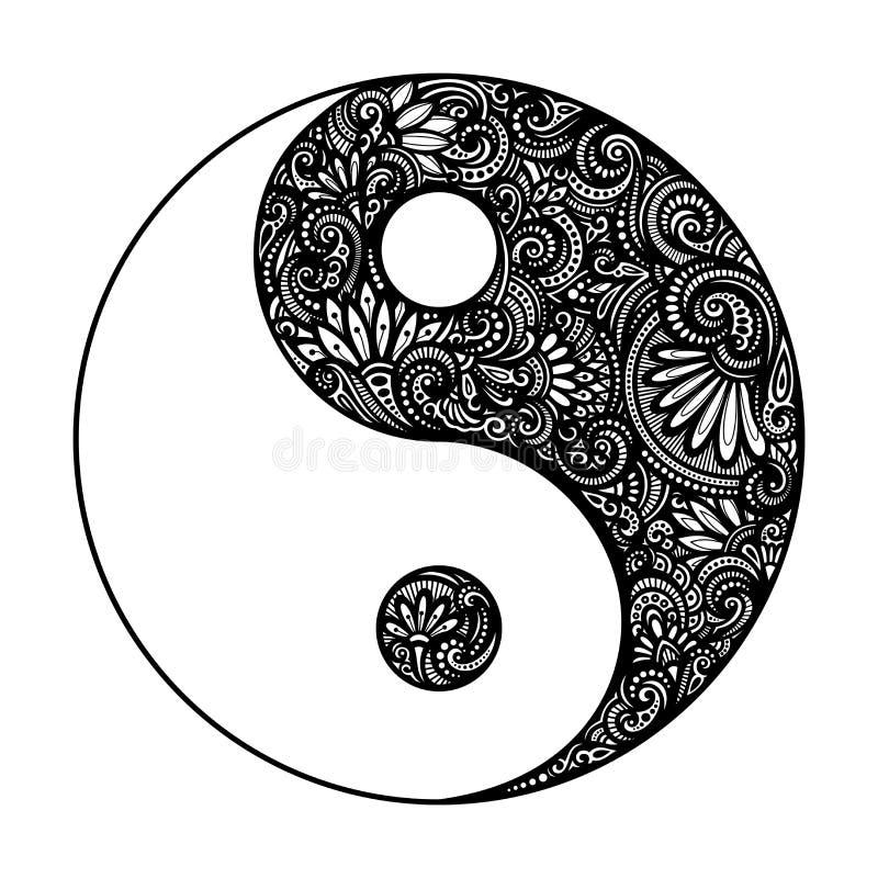 Vector Yin Yang Symbol adornada stock de ilustración