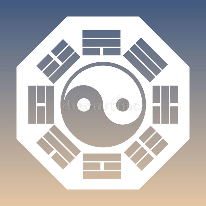 Vector Yin and Yang Symbol and Eight Trigrams on a Gradient Background stock illustration