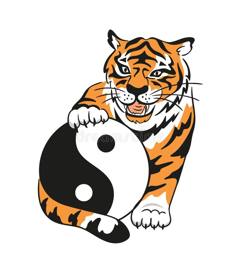 Vector yin yang symbol with tiger and chinese characters - `tai Chi Chuan`. Abstract occult and mystic sign. Taichi print design royalty free illustration