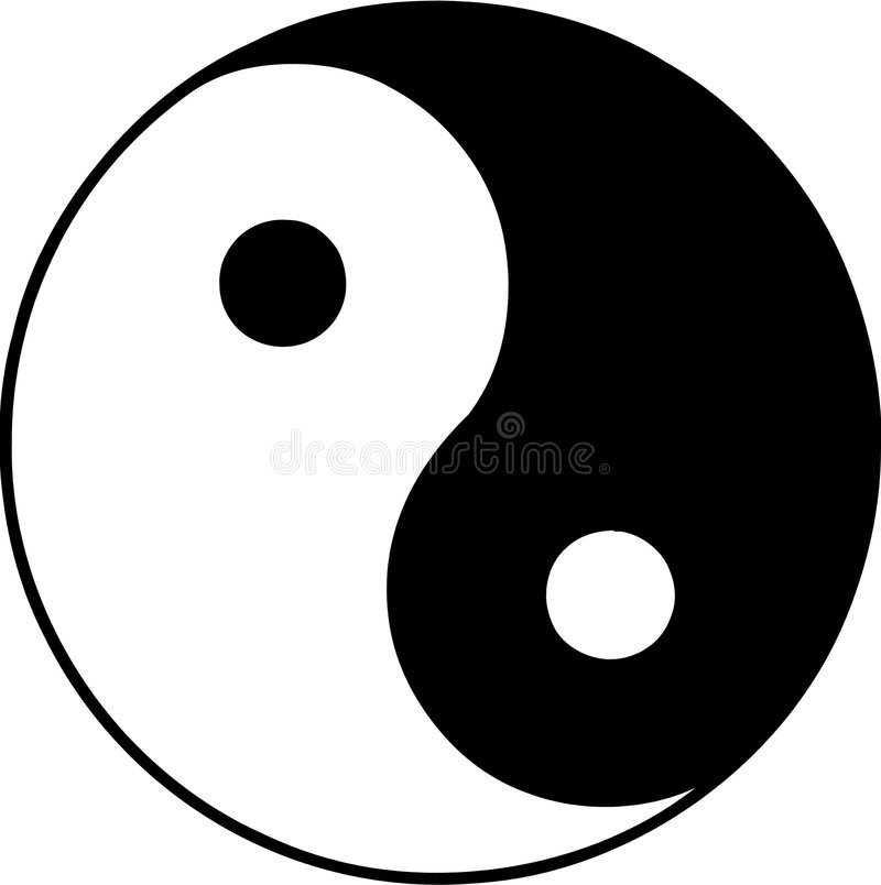 Vector ying and yang. Vector illustrated ying and yang symbol on white background stock illustration
