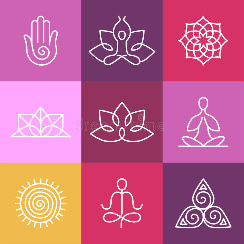 Graphic Design Elements Line : Vector yoga icons and round line signs stock