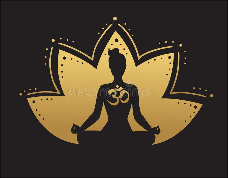 vector yoga illustration in black and gold colors stock vector illustration of meditating black 158266850 vector yoga illustration in black and