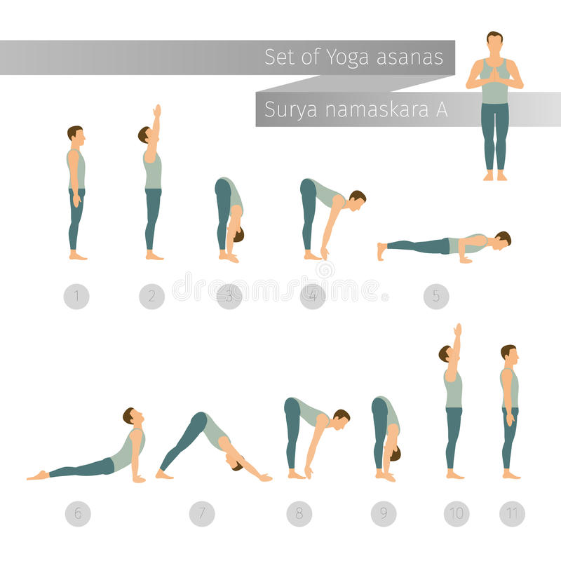 Vector yoga set in flat style. vector illustration
