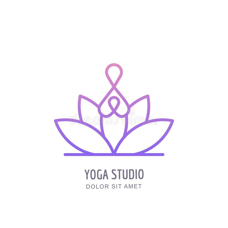 Free Vector Yoga Studio Or School Outline Logo, Emblem, Label Design Template. Abstract Human Silhouette In Lotus Position. Royalty Free Stock Photo - 108670675