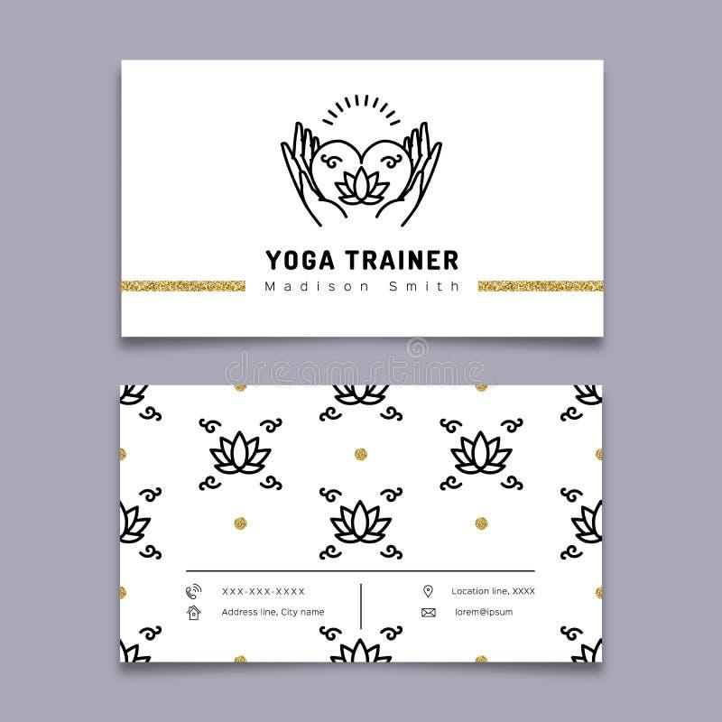 Vector yoga trainer business card template, meditation icon, lotus pattern. Vector yoga trainer business card template. Yoga outline icon and thin line art stock illustration