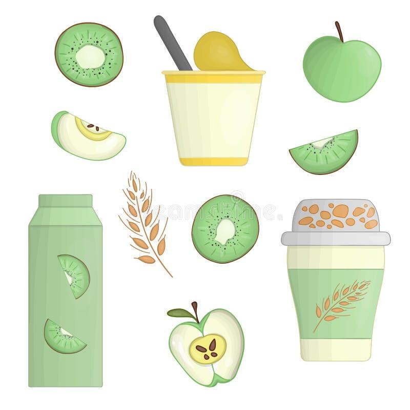 Vector yoghurt and fruit illustration royalty free illustration