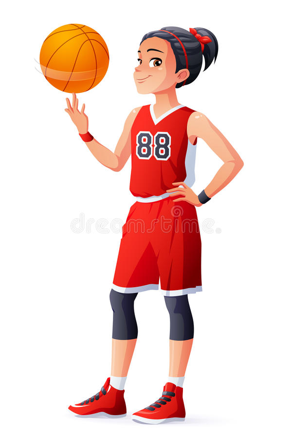 Vector young Asian basketball player girl spinning ball on finger. Cute young Asian ethnicity young basketball player girl in red uniform spinning the ball on stock illustration