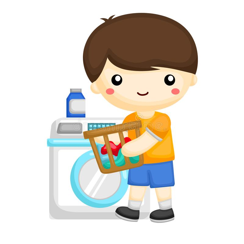 Young boy washing some dirty clothes at the washing machine. A vector of young boy washing some dirty clothes at the washing machine stock illustration