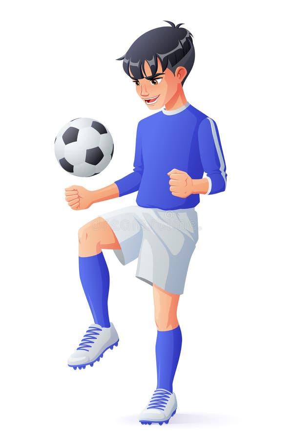 Vector young football or soccer player boy juggling with ball. Cute young football or soccer player boy in blue uniform juggling with ball. Cartoon vector vector illustration