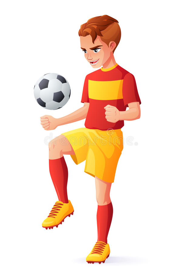 Vector young football or soccer player boy juggling with ball. Cute young football or soccer player boy in red uniform juggling with ball. Cartoon vector royalty free illustration