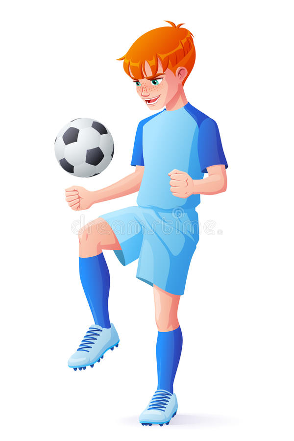 Vector young football or soccer player boy juggling with ball. Cute young redhead football or soccer player boy in blue uniform juggling with ball. Cartoon stock illustration