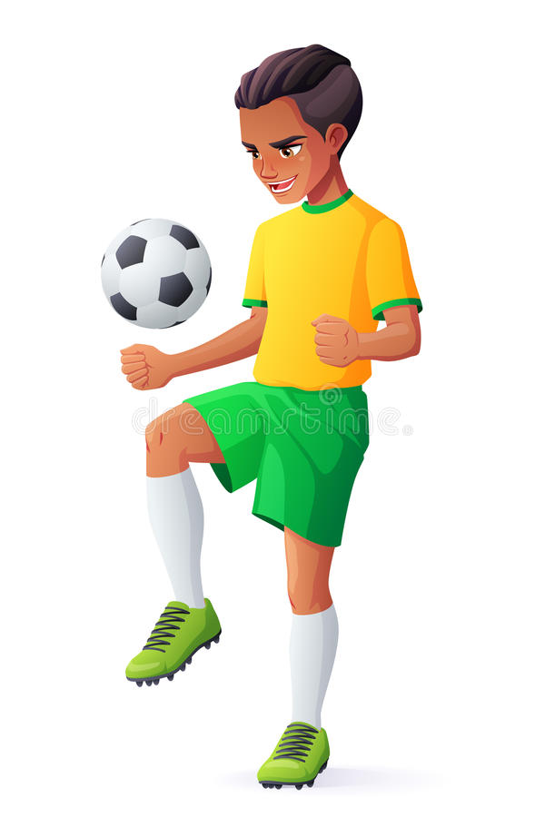 Vector young football or soccer player boy juggling with ball. royalty free illustration